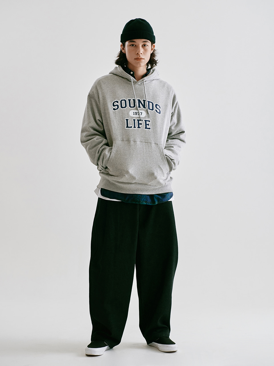 [FW20 Sounds Life] College Hoodie(Malange Grey) STEREO-SHOP