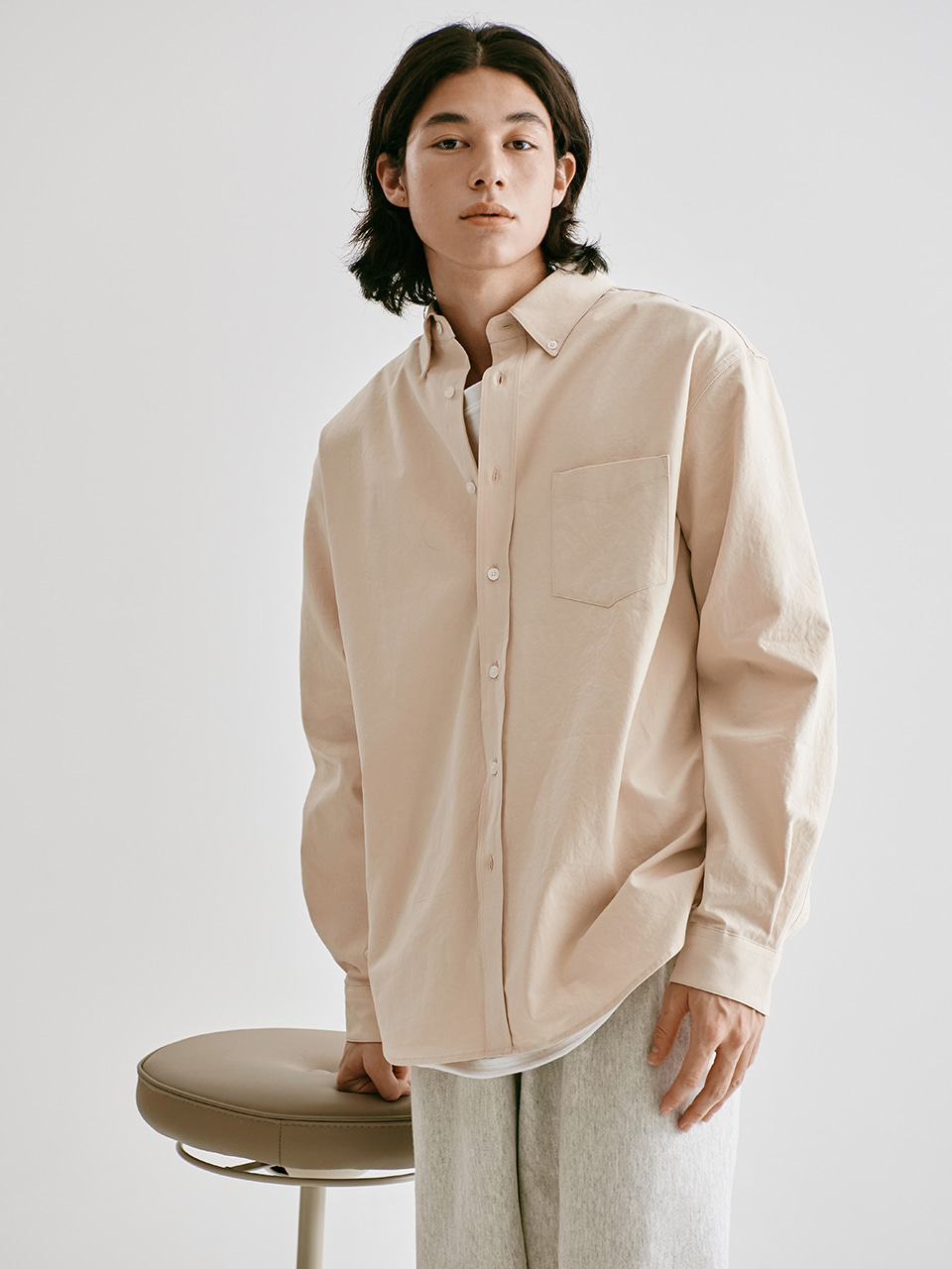 [FW20 Sounds Life] Soft Button-down Shirt(Beige) STEREO-SHOP