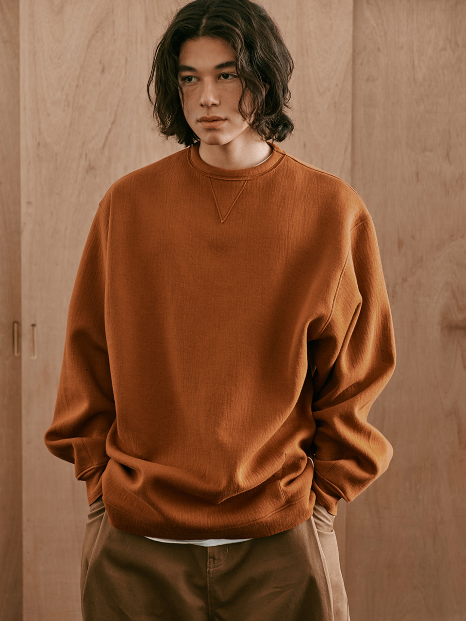 [FW20 Sounds Life] Cut & Tucked Sweatshirt(Brown) STEREO-SHOP