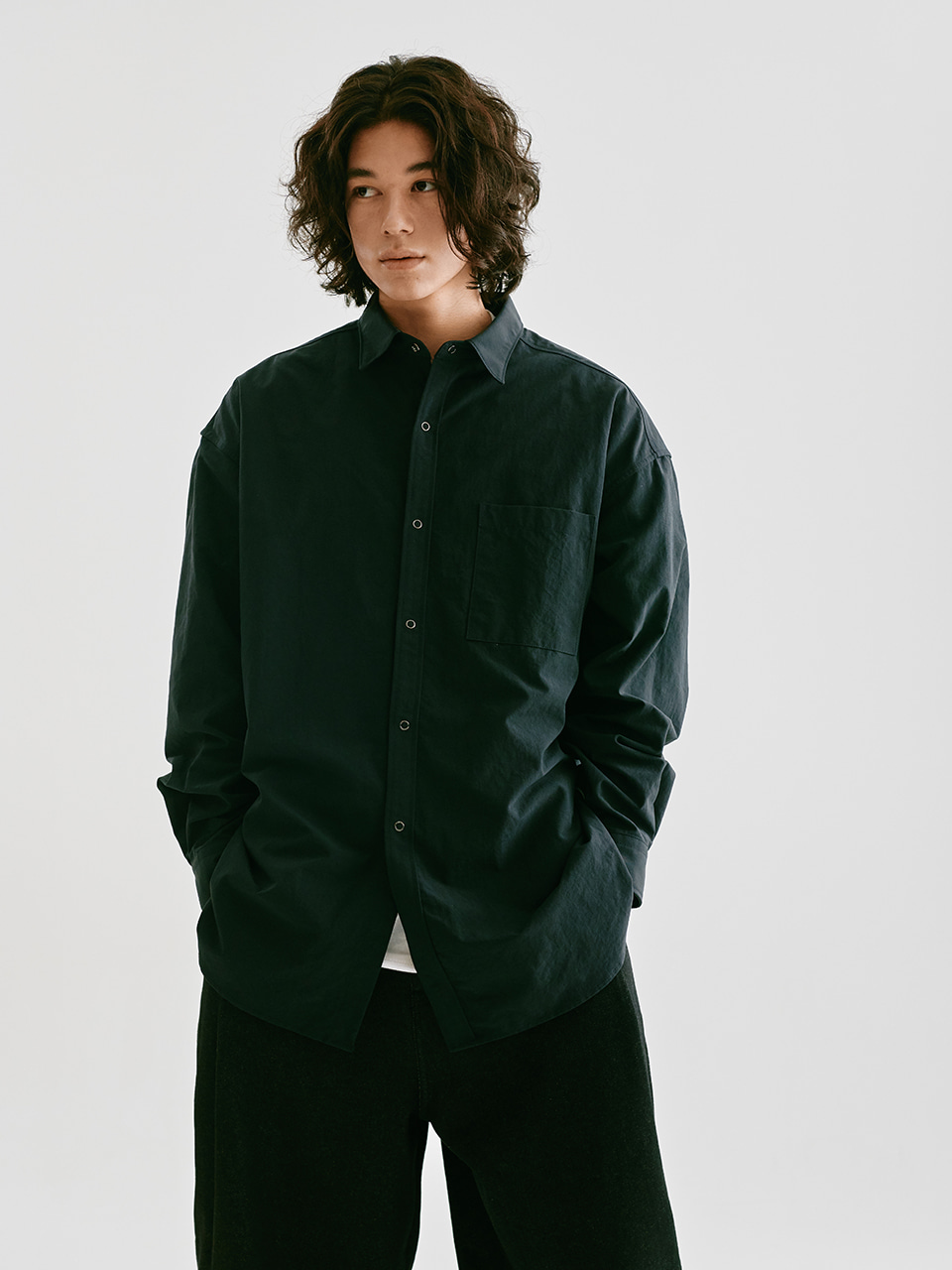[FW20 Sounds Life] Nylon Big Shirt(Navy) STEREO-SHOP