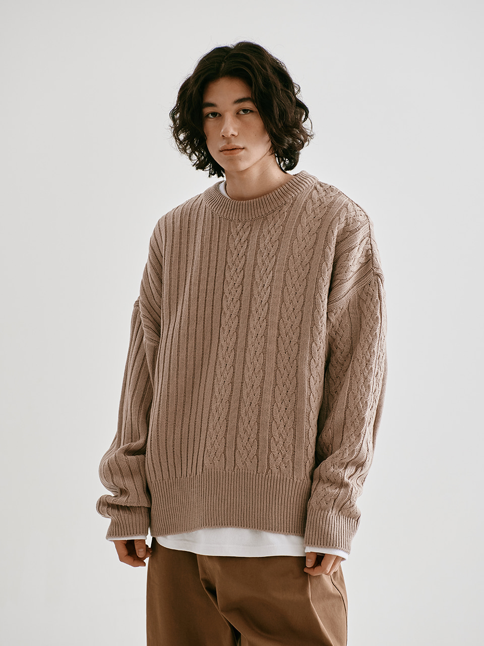 [FW20 Sounds Life] Half-Cable Knit Pullover(Beige) STEREO-SHOP