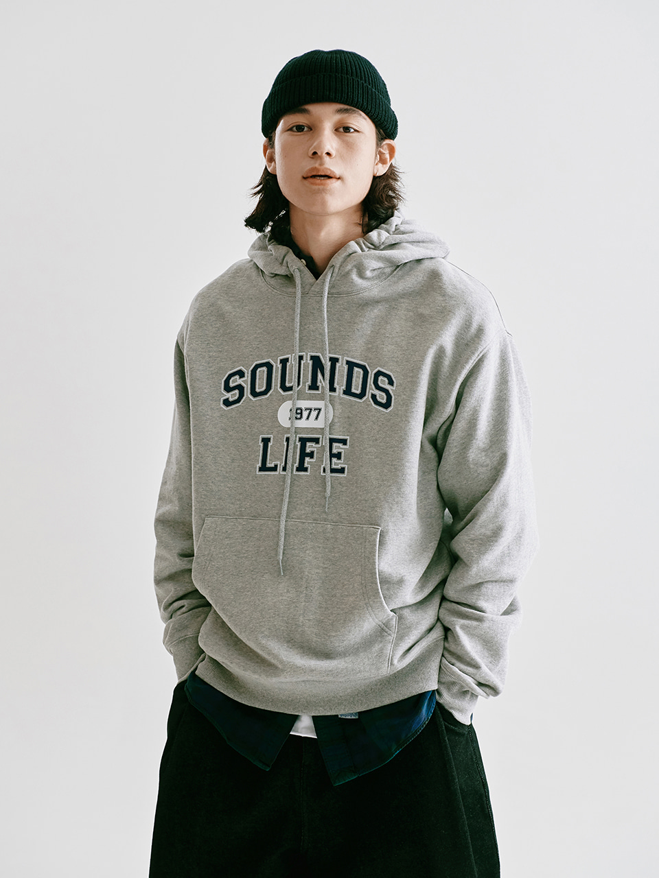 [FW20 Sounds Life] College Hoodie(Melange Grey) STEREO-SHOP