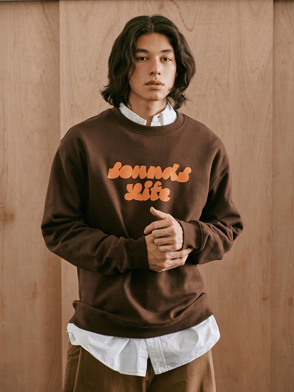 [FW20 Sounds Life] Sounds Life Sweatshirt(Brown) STEREO-SHOP