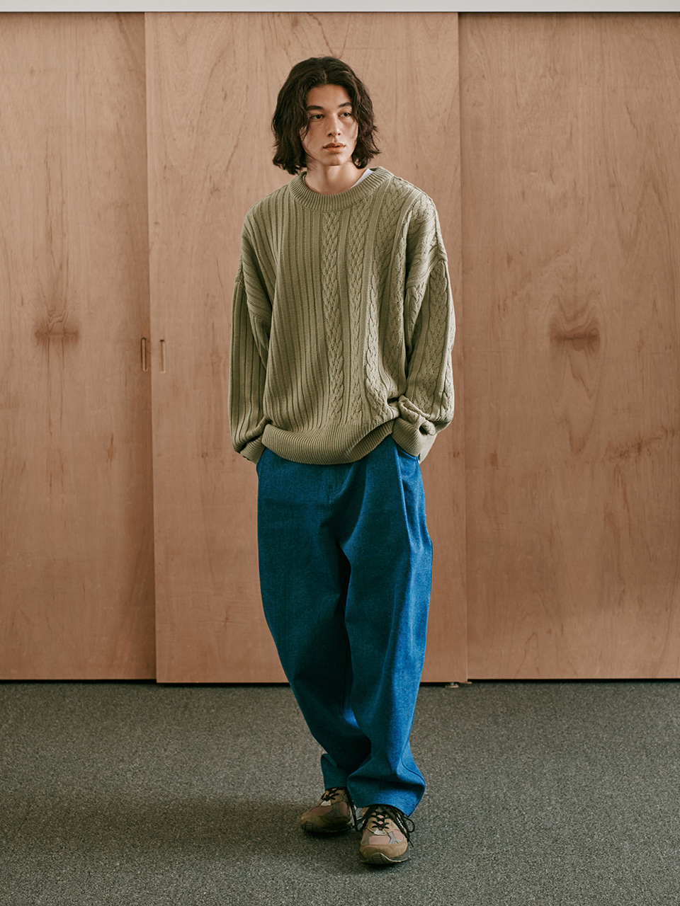 [FW20 Sounds Life] Half-Cable Knit Pullover(Khaki) STEREO-SHOP