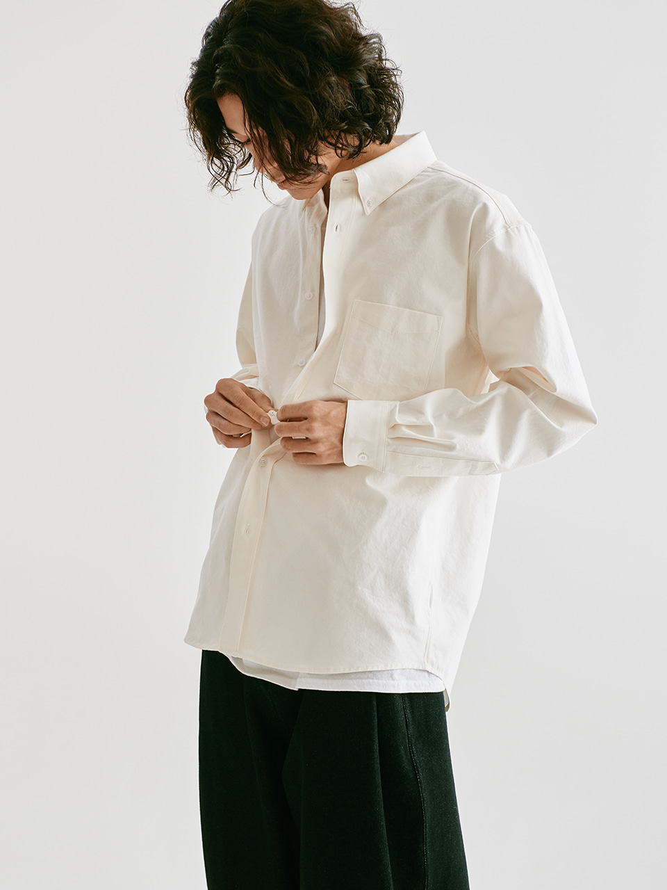 [FW20 Sounds Life] Soft Button-down Shirt(White) STEREO-SHOP