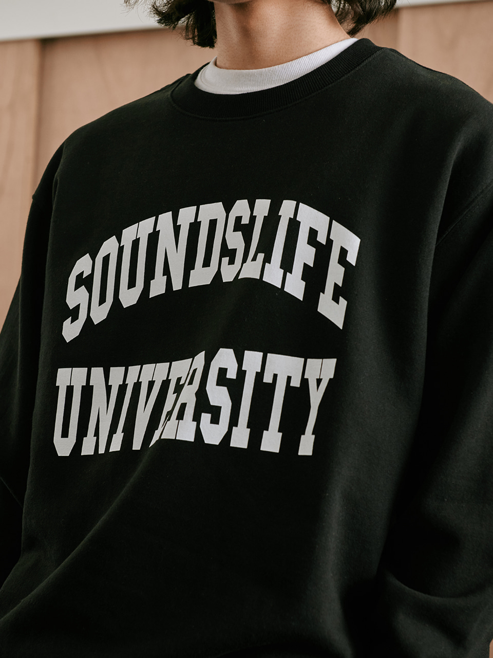 [FW20 Sounds Life] College Sweatshirt(Black) STEREO-SHOP