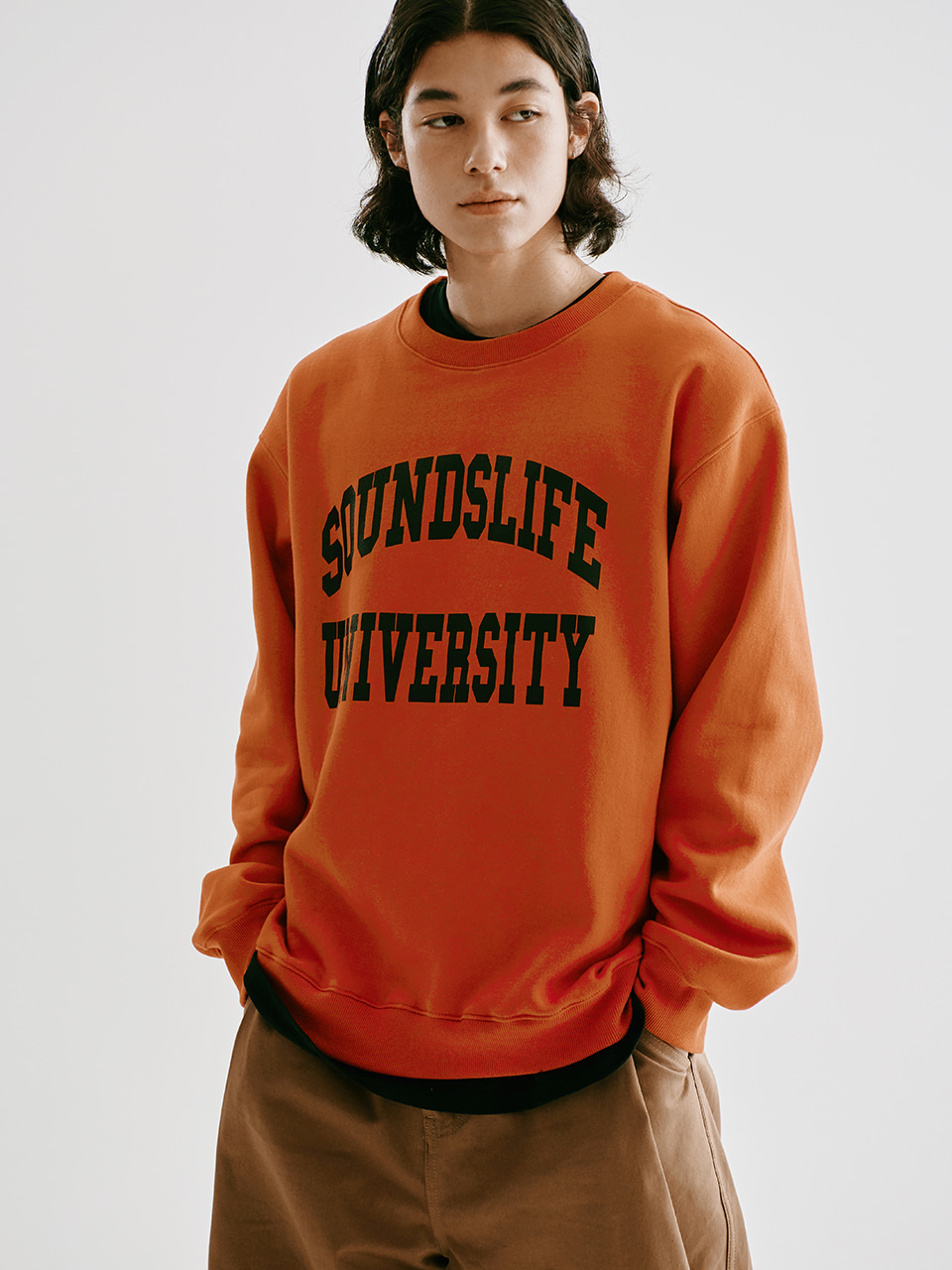 [FW20 Sounds Life] College Sweatshirt(Orange) STEREO-SHOP