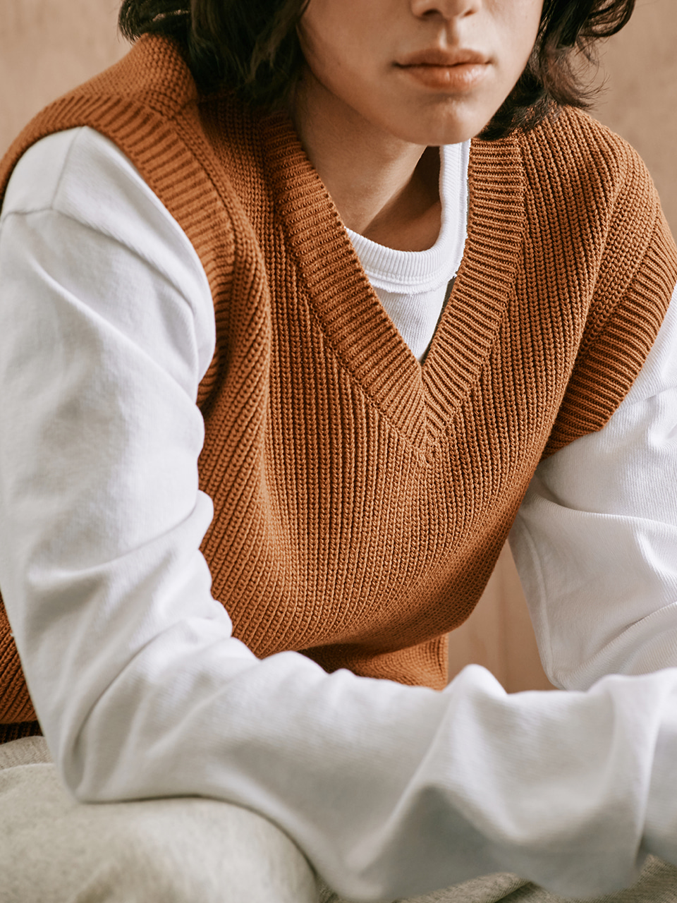 [FW20 Sounds Life] Mellow Knit Vest(Brown) STEREO-SHOP