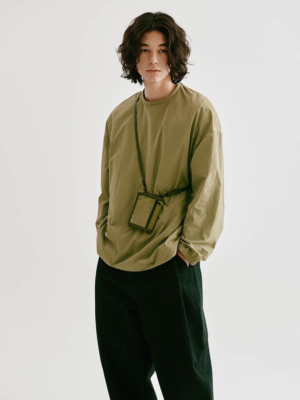 [FW20 Sounds Life] Nylon Pullover Shirt(Khaki) STEREO-SHOP