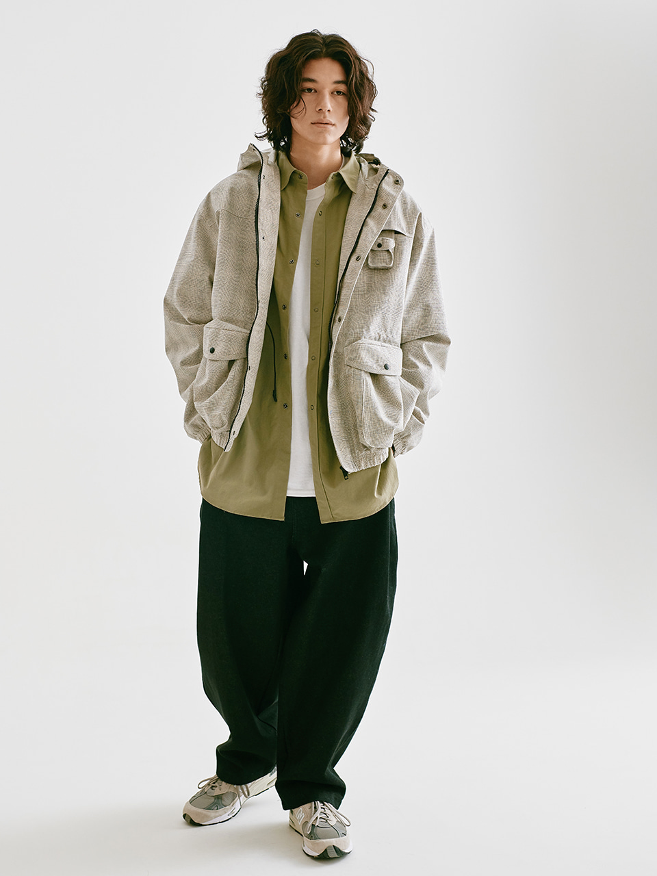 [FW20 Sounds Life] Nylon Big Shirt(Khaki) STEREO-SHOP